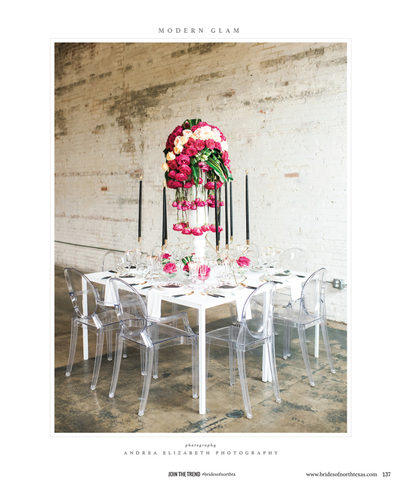 Wedding Table Centerpiece - Modern Glam Wedding by Dallas Wedding Planner