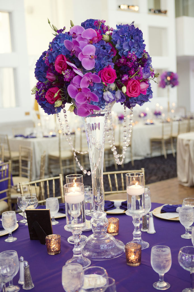 Purple Wedding Floral Centerpiece - Dallas Wedding Planning