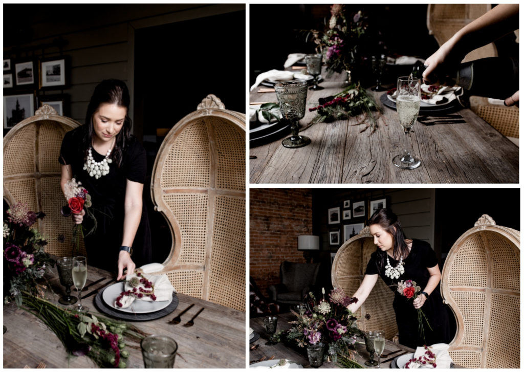 Lead Planner Corinne setting up the tablescape for the styled shoot