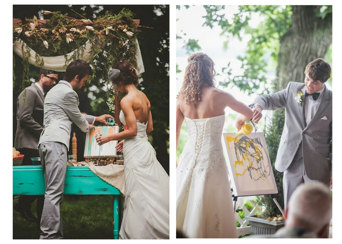 Couples pouring paint onto their unity paintings.