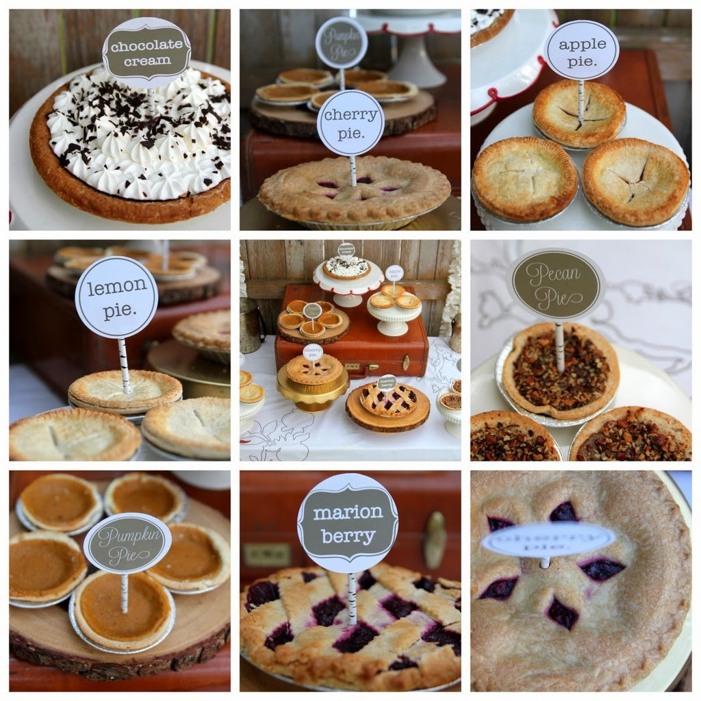This photo features a nine grid photo of different displays of mini pies. Each mini pie has a sign indication the flavor. L-R top row 1- Chocolate Cream. Cherry, Apple Pie, lemon pie, variety, pecan pie, pumpkin pie, marion pie, and cherry again.