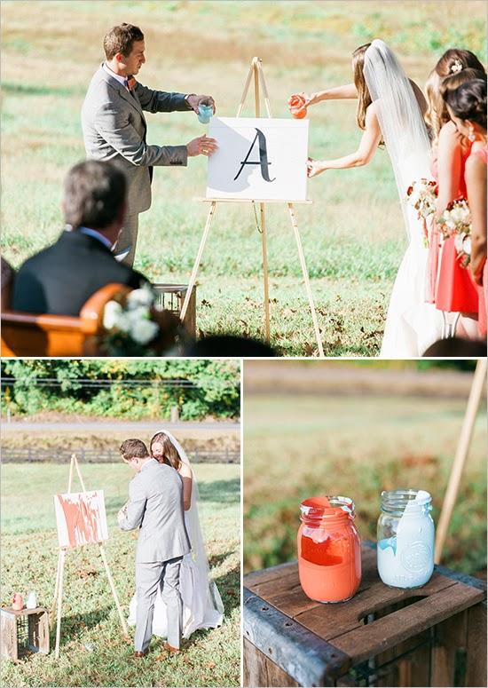 This three photo grid features a couple pouring paint onto their unity painting. It also shows the mason jars hold the paint with their wedding photos.